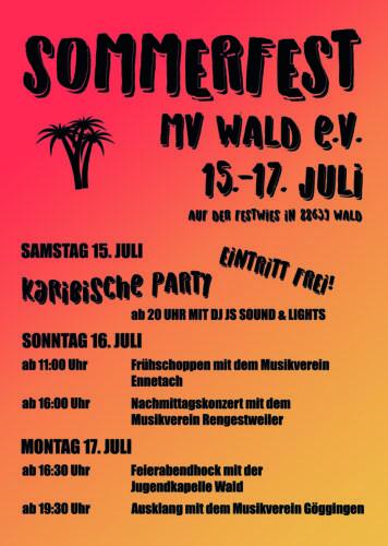Sommerfest des Musikvereins Wald e.V. auf der Festwiese in Wald