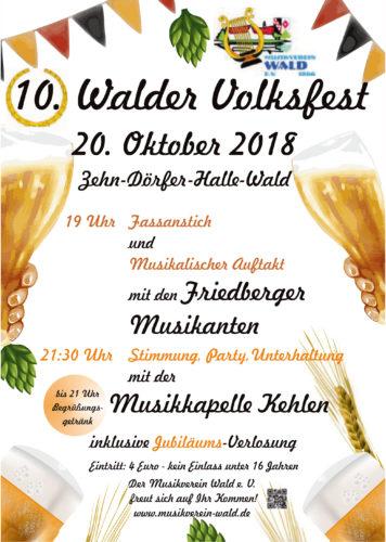 Wir feiern ein Jubiläum!!!  -  10 . Walder Volksfest