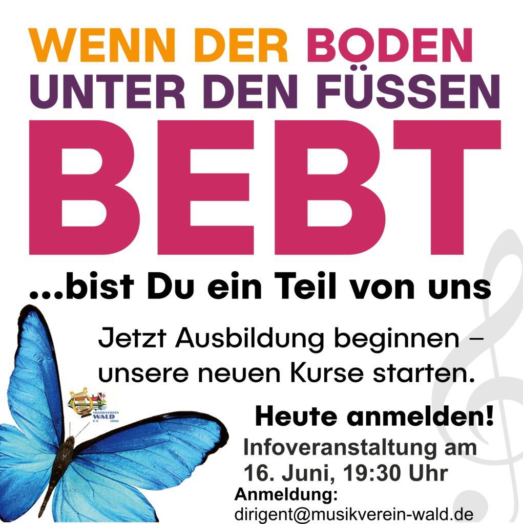 Neue Ausbildungsstaffel des Musikvereins Wald startet. Infoveranstaltung am 16. Juni, 19:30 Uhr.